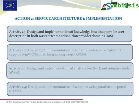 LIFE+ Environmental Policy & Governance project: LIFE09 ENV/GR/000300 ACTION 2: SERVICE ARCHITECTURE & IMPLEMENTATION Activity 2.1: Design and implementation.