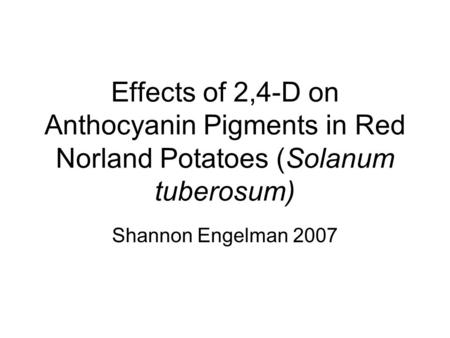 Effects of 2,4-D on Anthocyanin Pigments in Red Norland Potatoes (Solanum tuberosum) Shannon Engelman 2007.