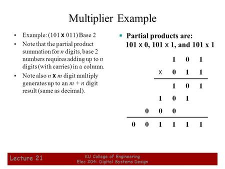 1 KU College of Engineering Elec 204: Digital Systems Design Lecture 21 Multiplier Example Example: (101 x 011) Base 2 Note that the partial product summation.