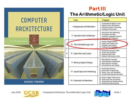 July 2005Computer Architecture, The Arithmetic/Logic UnitSlide 1 Part III The Arithmetic/Logic Unit.