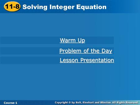 Solving Integer Equation