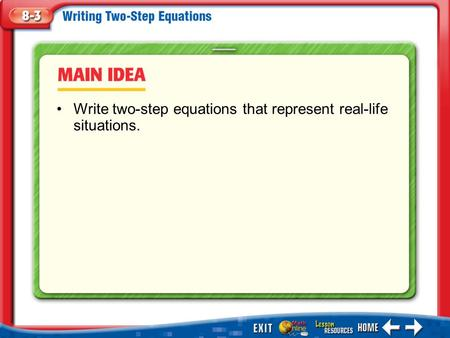 Main Idea/Vocabulary Write two-step equations that represent real-life situations.