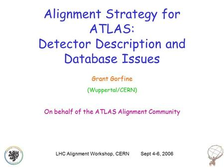 Alignment Strategy for ATLAS: Detector Description and Database Issues