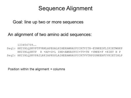 Sequence Alignment Goal: line up two or more sequences An alignment of two amino acid sequences: 123456789…. Seq1: HKIYHLQSKVPTFVRMLAPEGALNIHEKAWNAYPYCRTVITN-EYMKEDFLIKIETWHKP.