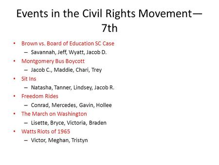 Events in the Civil Rights Movement— 7th Brown vs. Board of Education SC Case – Savannah, Jeff, Wyatt, Jacob D. Montgomery Bus Boycott – Jacob C., Maddie,