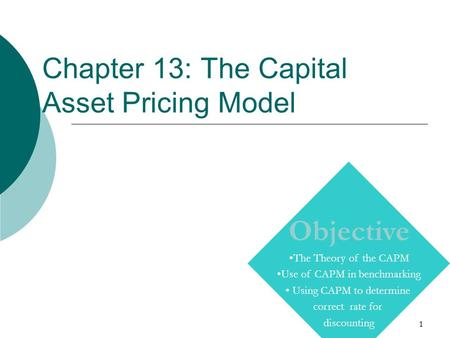 1 Chapter 13: The Capital Asset Pricing Model Copyright © Prentice Hall Inc. 2000. Author: Nick Bagley, bdellaSoft, Inc. Objective The Theory of the CAPM.
