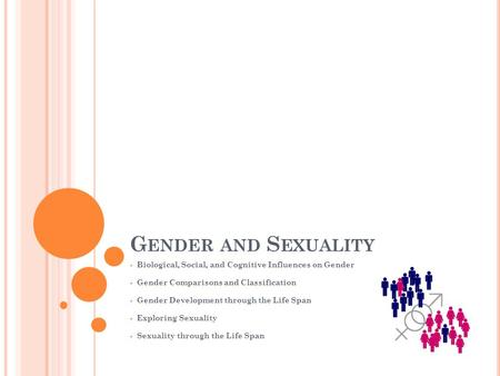 G ENDER AND S EXUALITY  Biological, Social, and Cognitive Influences on Gender  Gender Comparisons and Classification  Gender Development through the.