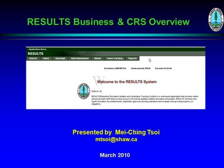 RESULTS Business & CRS Overview March 2010 Presented by Mei-Ching Tsoi