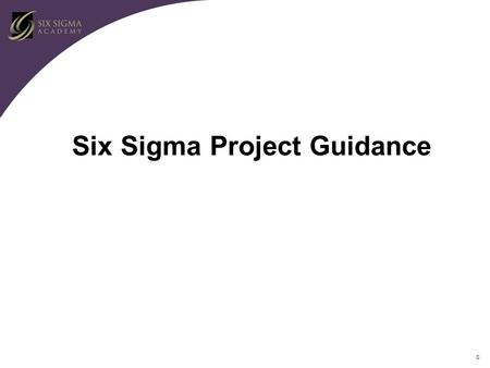 0 Six Sigma Project Guidance. 1 Roles and Responsibilities of the Finance Support Team Define Savings/Benefits Provide Financial Support – Project Selection.