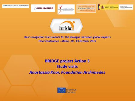 Best recognition instruments for the dialogue between global experts Final Conference - Malta, 18 - 19 October 2012 BRIDGE project Action 5 Study visits.