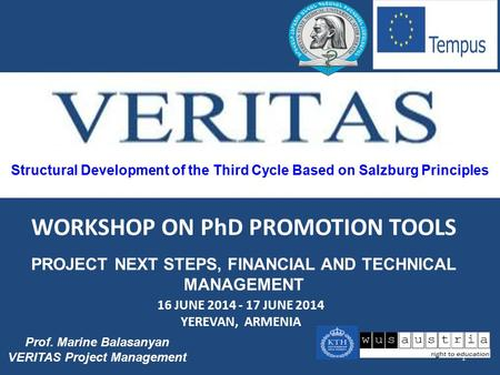 Structural Development of the Third Cycle Based on Salzburg Principles 1 Prof. Marine Balasanyan VERITAS Project Management WORKSHOP ON PhD PROMOTION TOOLS.