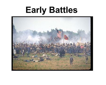 Early Battles. Fort Sumter Date: April, 1861 Winner:South People/Details:Union- Major Robert Anderson -Confederates bombarded the Fort for 2 days until.