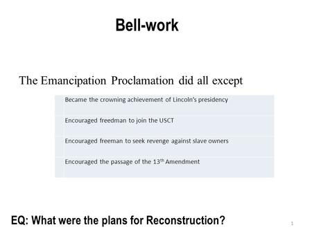 1 Bell-work EQ: What were the plans for Reconstruction? Became the crowning achievement of Lincoln's presidency Encouraged freedman to join the USCT Encouraged.