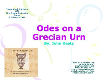 an analysis of the meaning of urn by john keats Ode on a grecian urn was written by john keats and published in 1819 this is a quick reading and analysis for my intro to poetry class i hope somebody fi.