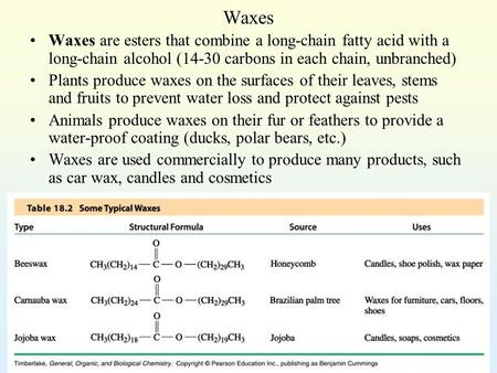 Waxes Waxes are esters that combine a long-chain fatty acid with a long-chain alcohol (14-30 carbons in each chain, unbranched) Plants produce waxes on.