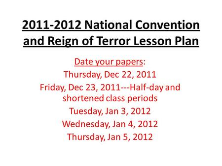 National Convention and Reign of Terror Lesson Plan