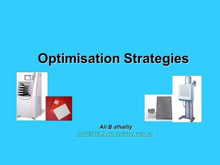 Optimisation Strategies Ali B alhailiy