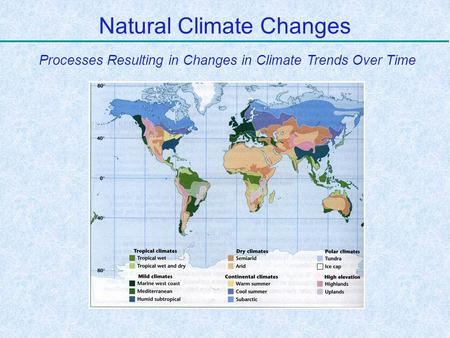 Natural Climate Changes Processes Resulting in Changes in Climate Trends Over Time.
