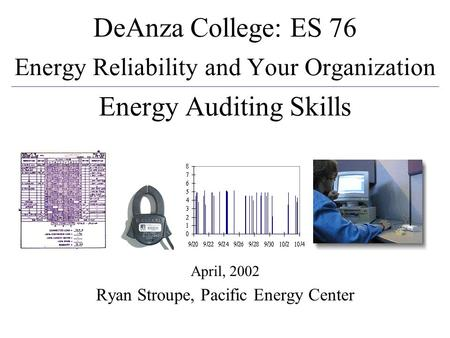 April, 2002Energy Audits1 April, 2002 Ryan Stroupe, Pacific Energy Center DeAnza College: ES 76 Energy Reliability and Your Organization Energy Auditing.