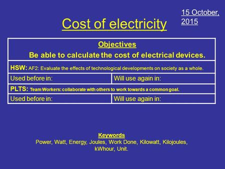 Cost of electricity Objectives Be able to calculate the cost of electrical devices. HSW: AF2: Evaluate the effects of technological developments on society.