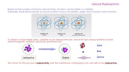 Based on the number of protons and neutrons, an atom can be stable or unstable. Generally, small atoms require an equal number of p & n for stability,