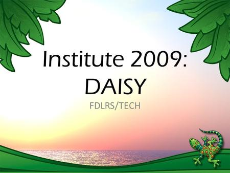 Institute 2009: DAISY FDLRS/TECH. Institute CD: Resources DAISY Books – DAISY 3 – Narrated DAISY books (DAISY 2.0) – Text Only / HTML – ePub (Usable with.