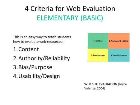 4 Criteria for Web Evaluation ELEMENTARY (BASIC) This is an easy way to teach students how to evaluate web resources: 1.Content 2.Authority/Reliability.