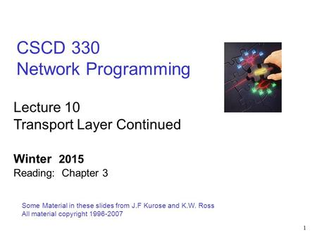 1 CSCD 330 Network Programming Some Material in these slides from J.F Kurose and K.W. Ross All material copyright 1996-2007 Lecture 10 Transport Layer.