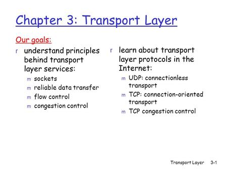 Transport Layer 3-1 Chapter 3: Transport Layer Our goals: r understand principles behind transport layer services: m sockets m reliable data transfer m.