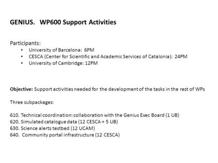 GENIUS. WP600 Support Activities Participants: University of Barcelona: 6PM CESCA (Center for Scientific and Academic Services of Catalonia): 24PM University.
