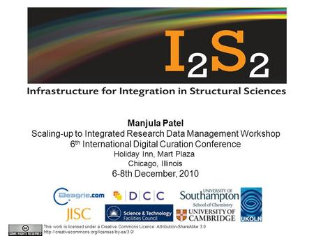 Manjula Patel Scaling-up to Integrated Research Data Management Workshop 6 th International Digital Curation Conference Holiday Inn, Mart Plaza Chicago,