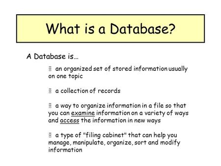 What is a Database? A Database is…  an organized set of stored information usually on one topic  a collection of records  a way to organize information.