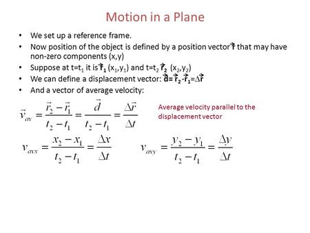 Motion in a Plane We set up a reference frame.