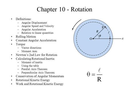 Chapter 10 - Rotation Definitions: –Angular Displacement –Angular Speed and Velocity –Angular Acceleration –Relation to linear quantities Rolling Motion.