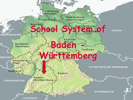 School System of Baden - Württemberg. Structure:  Kindergarten  Primary School  Marks  Basic School  Secondary School  Grammar School.