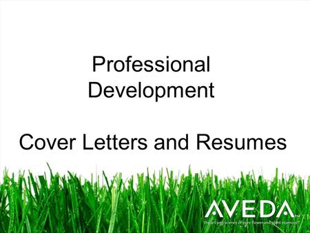 Professional Development Cover Letters and Resumes.