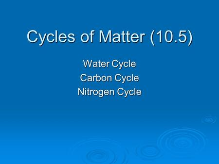 Cycles of Matter (10.5) Water Cycle Carbon Cycle Nitrogen Cycle.