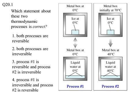 Which statement about these two thermodynamic processes is correct? 1. both processes are reversible 2. both processes are irreversible 3. process #1 is.