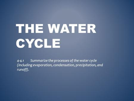 THE WATER CYCLE 4-4.1Summarize the processes of the water cycle (including evaporation, condensation, precipitation, and runoff).