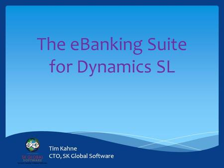 The eBanking Suite for Dynamics SL