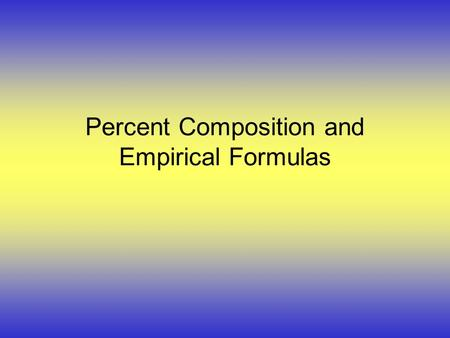 Percent Composition and Empirical Formulas. Terms: u The law of definite proportions describes that elements in a given compound are always present in.