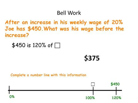 Bell Work After an increase in his weekly wage of 20% Joe has $450.What was his wage before the increase? $450 is 120% of  Complete a number line with.