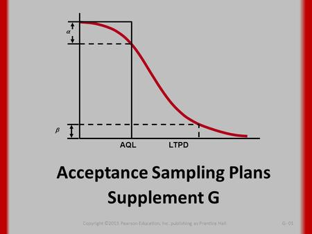 Acceptance Sampling Plans Supplement G   AQL LTPD Copyright ©2013 Pearson Education, Inc. publishing as Prentice HallG- 01.