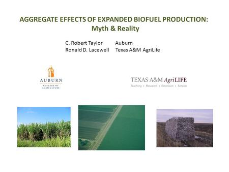 AGGREGATE EFFECTS OF EXPANDED BIOFUEL PRODUCTION: Myth & Reality C. Robert Taylor Auburn Ronald D. Lacewell Texas A&M AgriLife.