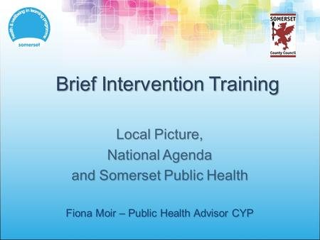 Brief Intervention Training Local Picture, National Agenda and Somerset Public Health Fiona Moir – Public Health Advisor CYP.