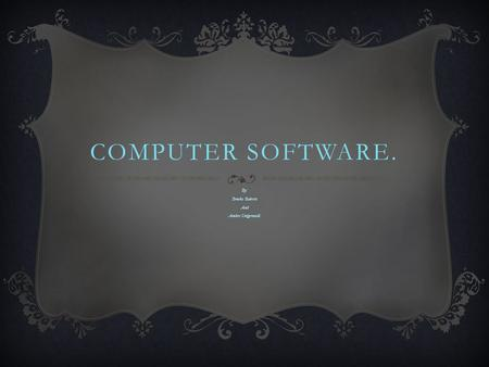 COMPUTER SOFTWARE. By: Brooke Roberts And Amber Steigerwald.