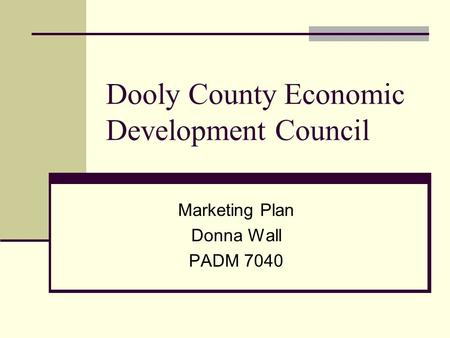 Dooly County Economic Development Council Marketing Plan Donna Wall PADM 7040.