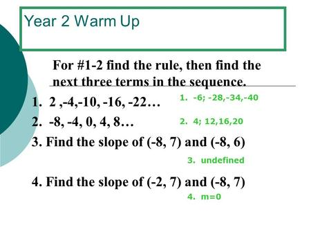 Year 2 Warm Up For #1-2 find the rule, then find the next three terms in the sequence. 1. 2,-4,-10, -16, -22… 2. -8, -4, 0, 4, 8… 3. Find the slope of.