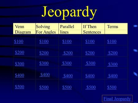 Jeopardy Venn Diagram Solving For Angles Parallel lines If Then Sentences Terms $100 $200 $300 $400 $500 $100 $200 $300 $400 $500 Final Jeopardy.