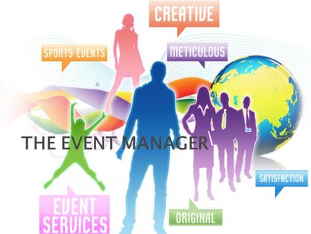 THE EVENT MANAGER.  Explain the role of an event manager  List skills and competencies that an event manager must develop Objectives.